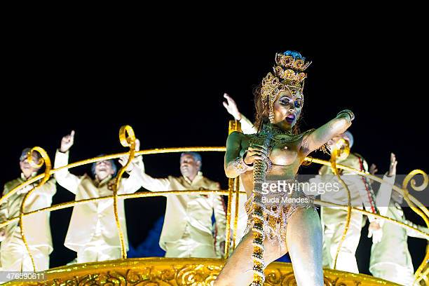 Former Flamengo team players that won 1981 world championship perform during Imperatriz Leopoldinense samba school parade at 2014 Brazilian Carnival...