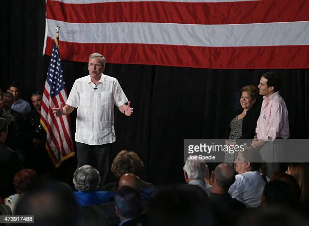 Former Florida Gov and likely Republican presidential candidate Jeb Bush speaks to supporters during a fundraising event as wife Columba Bush and son...