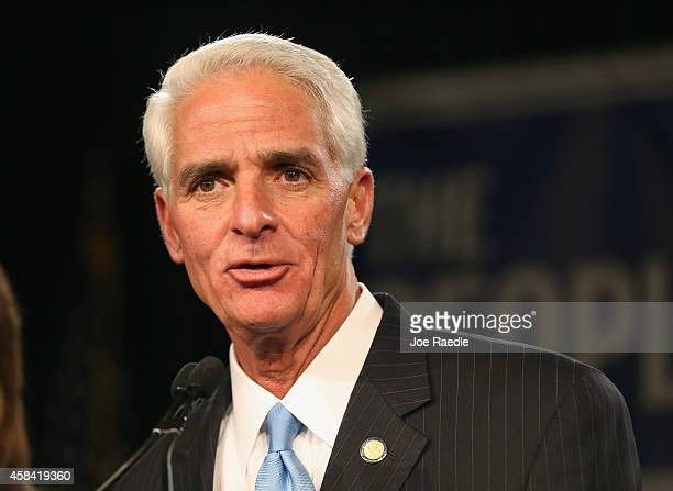 Former Florida Governor and Democratic gubernatorial candidate Charlie Crist concedes defeat in the Vinoy hotel on November 4 2014 in St Petersburg...