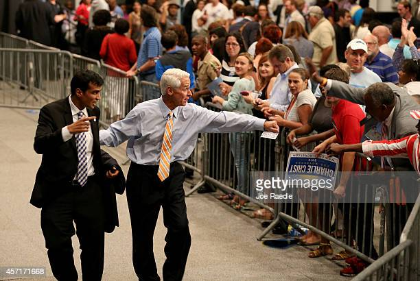 Former Florida Governor and now Democratic gubernatorial candidate Charlie Crist greets people during a campaign event with U.S. Vice President Joe...