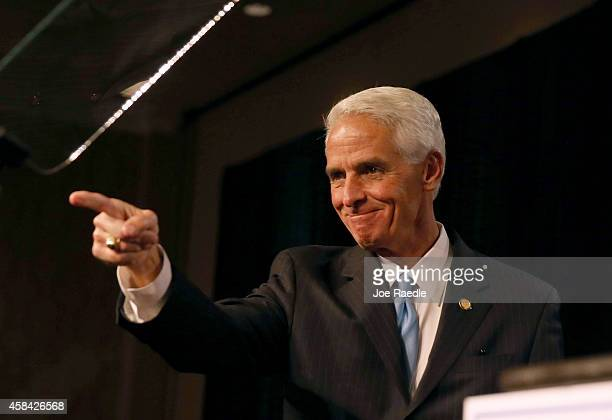 Former Florida Governor and now Democratic gubernatorial candidate Charlie Crist as he concedes defeat in the Vinoy hotel on November 4 2014 in St...