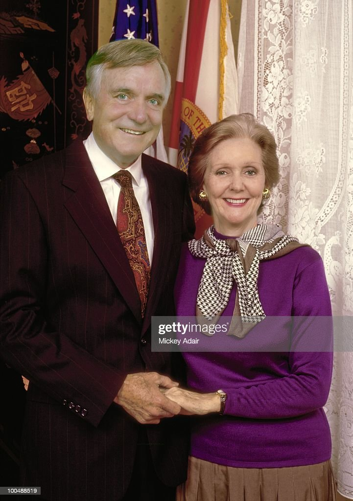 Former Florida Governor and U.S. Senator Lawton Chiles and his wife Rhea pose in 1990 in Tallahassee, Florida.