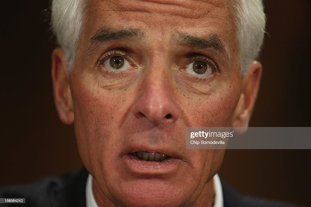 Former Florida Governor Charlie Crist testifies before the Senate Judiciary Committee hearing on voting rights at the Dirksen Senate Office Building on Capitol Hill December 19, 2012 in Washington, DC. According to the committee, the hearing focused on Americans' access to the voting booth 'and the continuing need for protections against efforts to limit or suppress voting.'