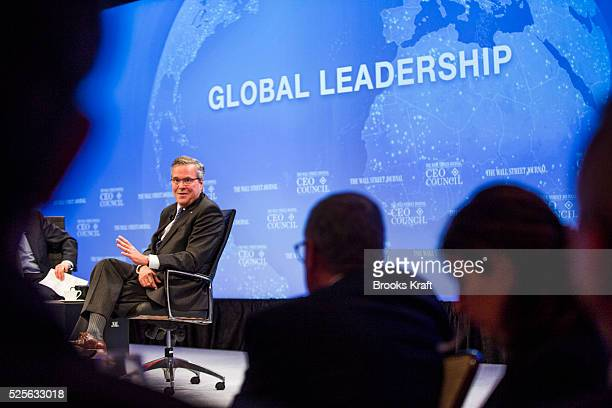 Former Florida governor Jeb Bush addresses the Wall Street Journal CEO Council in Washington Bush laid out five policy priorities that he said would...