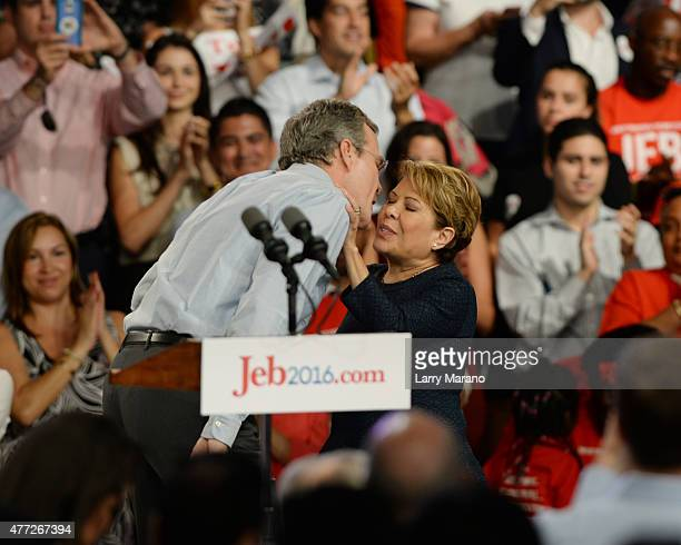 Former Florida Governor Jeb Bush and Columba Bush after he announces his candidacy for the 2016 Republican Presidential nomination during a rally at...