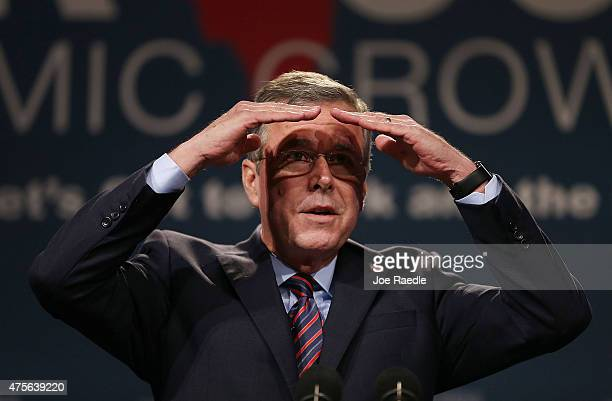 Former Florida Governor Jeb Bush and possible Republican presidential candidate speaks during the Rick Scott's Economic Growth Summit held at the...