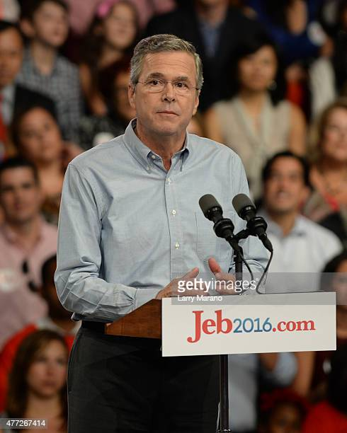 Former Florida Governor Jeb Bush announces his candidacy for the 2016 Republican Presidential nomination during a rally at Miami Dade College on June...
