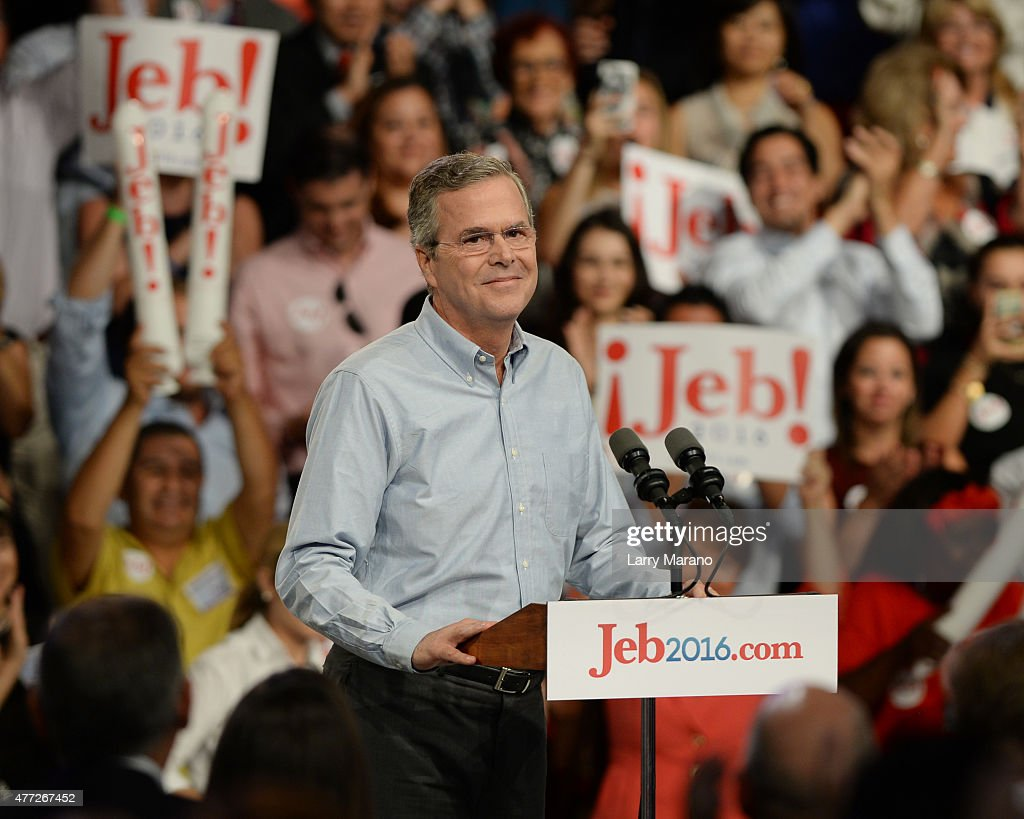 Former Florida Governor Jeb Bush announces his candidacy for the 2016 Republican Presidential nomination during a rally at Miami Dade College on June 15, 2015 in Miami, Florida.