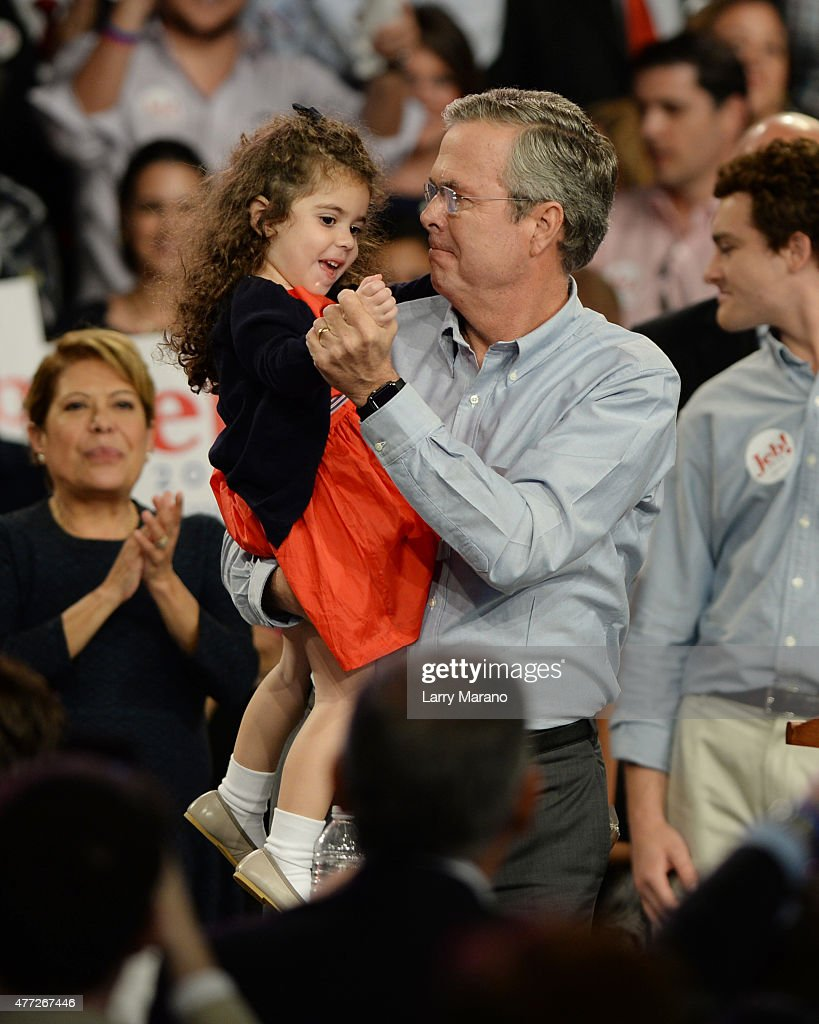 Former Florida Governor Jeb Bush holds his Grand Daughter after announces his candidacy for the 2016 Republican Presidential nomination during a rally at Miami Dade College on June 15, 2015 in Miami, Florida.