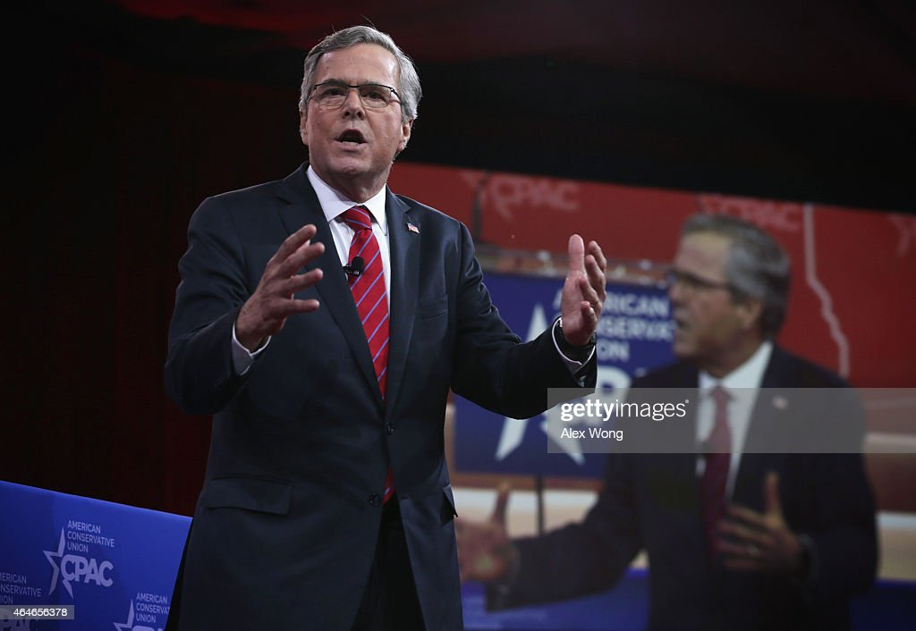 Former Florida governor Jeb Bush speaks at the 42nd annual Conservative Political Action Conference (CPAC) February 27, 2015 in National Harbor, Maryland. Conservative activists attended the annual political conference to discuss their agenda.