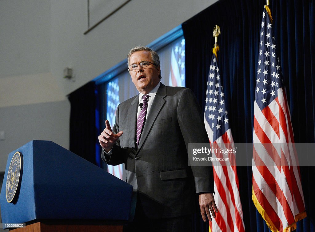 Former Florida Governor Jeb Bush speaks at the Reagan Library about his new book 'Immigration Wars: Forging an American Solution' on March 8, 2013 in Simi Valley, California. Bush's has been interpreted by many as reversing his views on a path to citizenship for illegal immigrants.