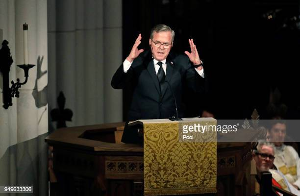 Former Florida Governor Jeb Bush speaks during a funeral service for his mother former first lady Barbara Bush at St Martin's Episcopal Church April...