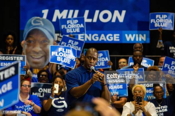 Former Florida gubernatorial candidate Andrew Gillum addresses the audience during an event on March 20 2019 in Miami Gardens Florida Gillum will...