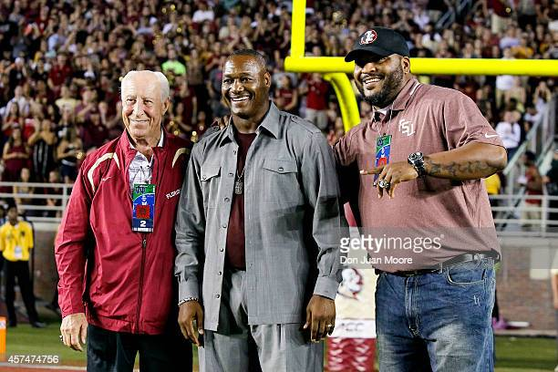 Former Florida State Seminoles Wide Receiver Fred Biletnikoff Linebacker Derrick Brooks and Offensive Tackle Walter Jones were honored during the...