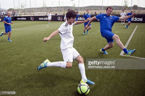 Former football international Zinedine Zidane's son Enzo takes part in a football game during the launching of his father's 'Z5' sports complex in...