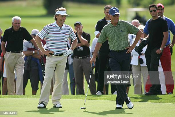 Former football legend Franz Beckenbauer and golfer Bernhard Langer look on during the opening of Hartl Golf Resort on June 18 in Penning Germany