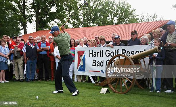 Former football legend Franz Beckenbauer hits a shot during the opening of Hartl Golf Resort on June 18 in Penning Germany