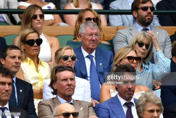 Former football manager Sir Alex Ferguson attends the Royal Box during Day eleven of The Championships - Wimbledon 2019 at All England Lawn Tennis...