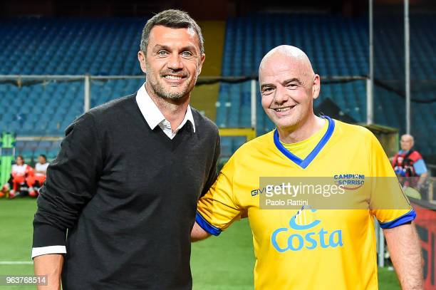 Former football player and coach of the Singer National team Paolo Maldini and Gianni Infantino during the 'Partita Del Cuore' Charity Match at...
