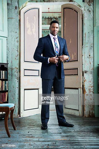 Former football player and TV host Michael Strahan is photographed for New York Post's Alexa on August 11 2015 in New York City PUBLISHED IMAGE