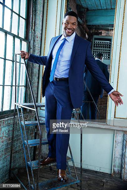 Former football player and TV host Michael Strahan is photographed for New York Post's Alexa on August 11, 2015 in New York City. PUBLISHED IMAGE.