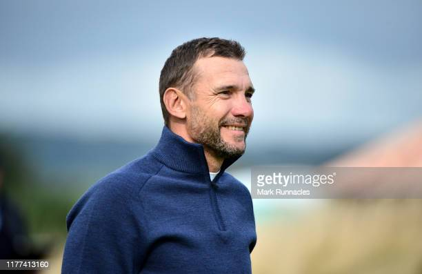 Former football player Andriy Shevchenko on the 14th hole during Day two of the Alfred Dunhill Links Championship at Carnoustie Golf Links on...