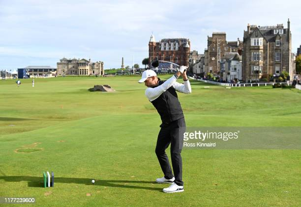 Former football player Andriy Shevchenko tees off on the 18th hole during Day one of the Alfred Dunhill Links Championship at The Old Course on...