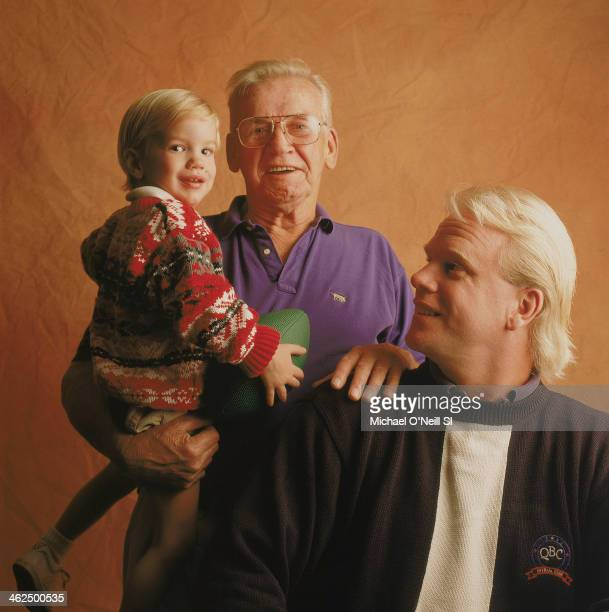 Former football player Boomer Esiason is photographed with son Gunnar and father Norman for Sports Illustrated on September 20 1993 in New York City...