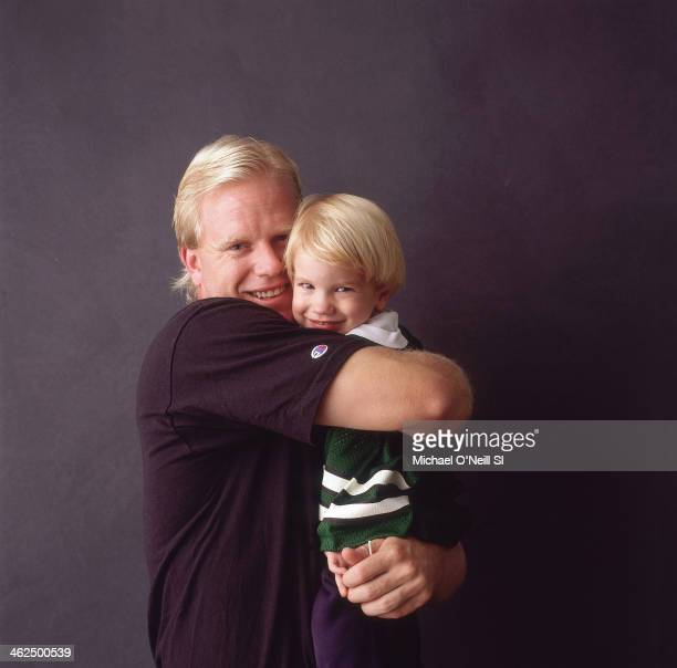 Former football player Boomer Esiason is photographed with son Gunnar for Sports Illustrated on September 20 1993 in New York City CREDIT MUST READ...