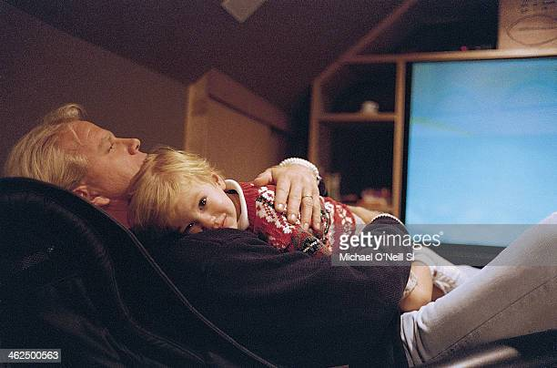 Former football player Boomer Esiason is photographed with son Gunnar for Sports Illustrated on September 20 1993 in New York City PUBLISHED IMAGE...