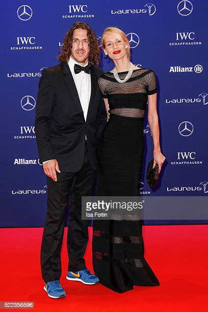 Former football player Carles Puyol and Vanessa Lorenzo attend the Laureus World Sports Awards 2016 on April 18 2016 in Berlin Germany