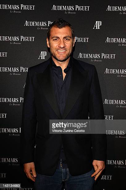 Former football player Christian Vieri attends a gala dinner for the 'Royal Oak 40 Years From AvantGarde to Icon' exhibition at the Old Fashion Cafe...
