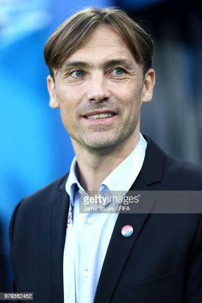 Former football player Dario Simic looks on during the 2018 FIFA World Cup Russia group D match between Croatia and Nigeria at Kaliningrad Stadium on...