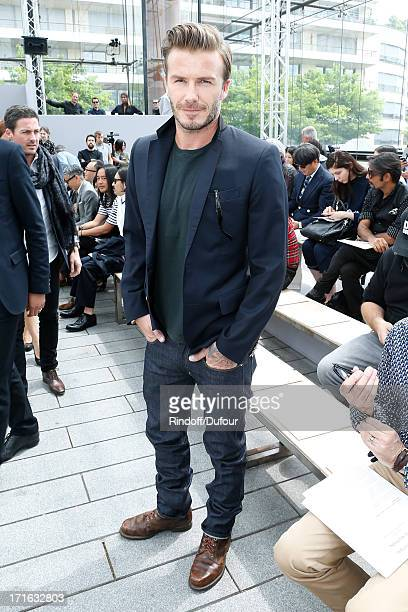 Former football player David Beckham attends Louis Vuitton Menswear Spring/Summer 2014 Show As Part Of The Paris Fashion Week held at Andre Citroen...