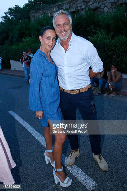 Former Football player David Ginola and his wife Coraline attend the 'Jeff Panacloc perd le controle' show during the 31th Ramatuelle Festival Day 3...