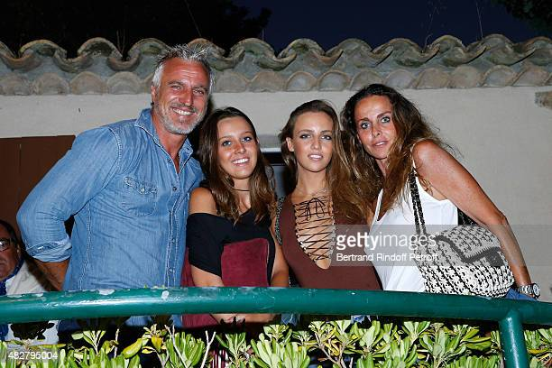 Former Football player David Ginola his wife Coraline Ginola their daughter Carla and her friend Olivia attend the 'Madame Foresti' show of Humorist...