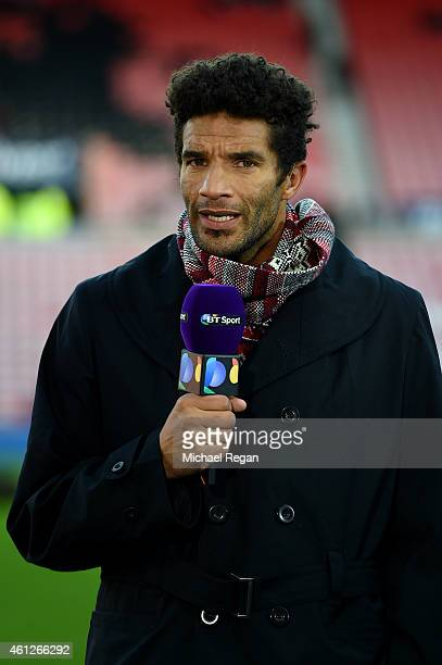 Former football player David James speaks during a TV broadcast before the Barclays Premier League match between Sunderland and Liverpool at Stadium...