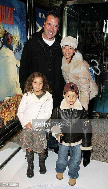 Former football player David Seaman Debbie Seaman and their children arrive at the UK Premiere of Happy Feet at Empire Cinema Leicester Square on...