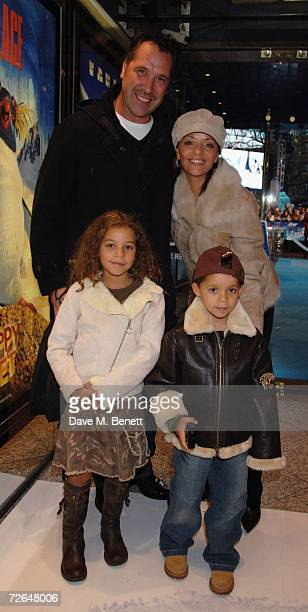 Former football player David Seaman Debbie Seaman with their children arrive at the UK premiere of 'Happy Feet' at Empire Leicester Square on...
