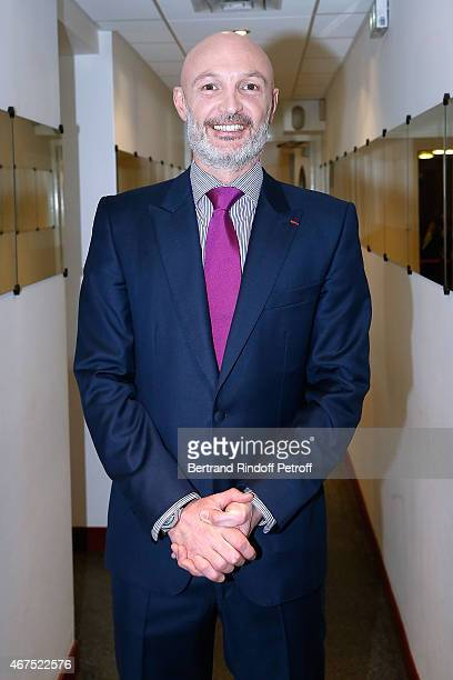 Former Football player Frank Leboeuf presents the Theater Play 'Ma BelleMere mon Ex et Moi' performed at Comedie Caumartin during the 'Vivement...