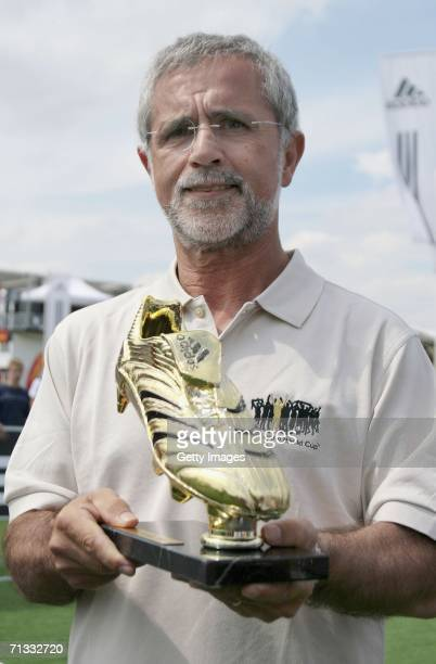 Former football player Gerd Mueller presents the adidas Golden Boot Trophy on June 29 2006 at adidas World of Football in Berlin Germany The adidas...