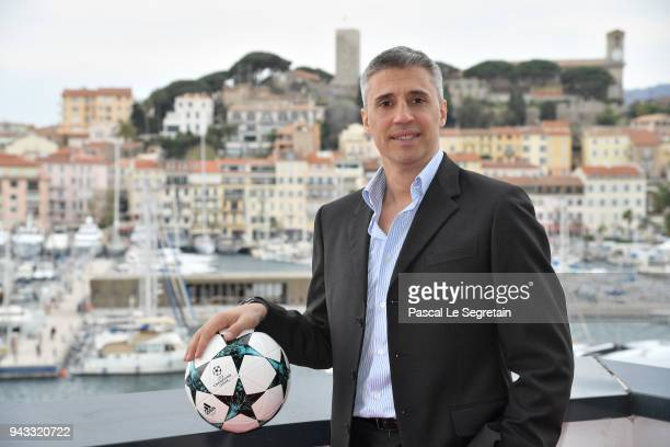 Former Football player Hernan Crespo attend 'The Football Show' photocall at MIPTV 2018 Photocall on April 8 2018 in Cannes France