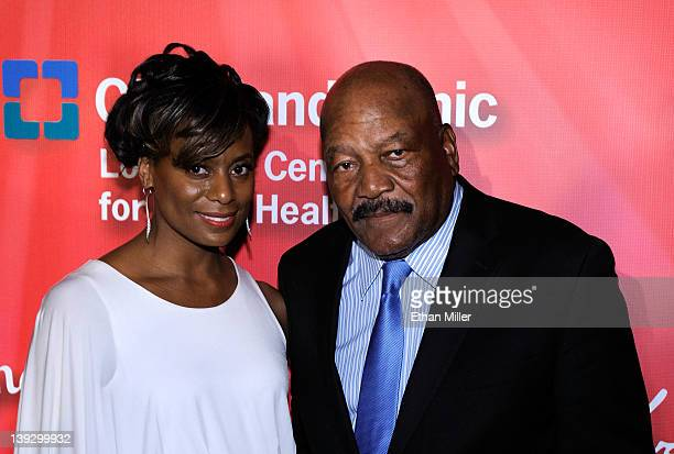 """Former football player Jim Brown and wife Monique Brown arrive at the Keep Memory Alive foundation's """"Power of Love Gala"""" celebrating Muhammad Ali's..."""