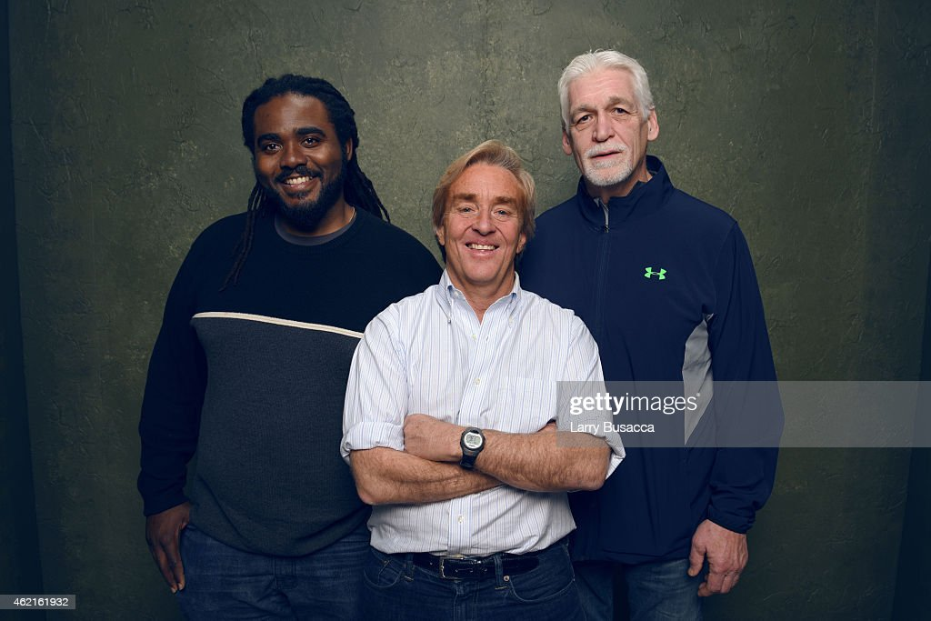 Former football player Joe Ehrmann, CEO and Founder of Common Sense Media James Steyer and assistant Principal of Montera Middle School Ashanti Branch of 'The Mask You Live In' pose for a portrait at the Village at the Lift Presented by McDonald's McCafe during the 2015 Sundance Film Festival on January 25, 2015 in Park City, Utah.
