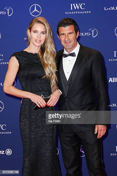 Former football player Luis Figo and his wife Helen Svedin attend the Laureus World Sports Awards 2016 on April 18 2016 in Berlin Germany