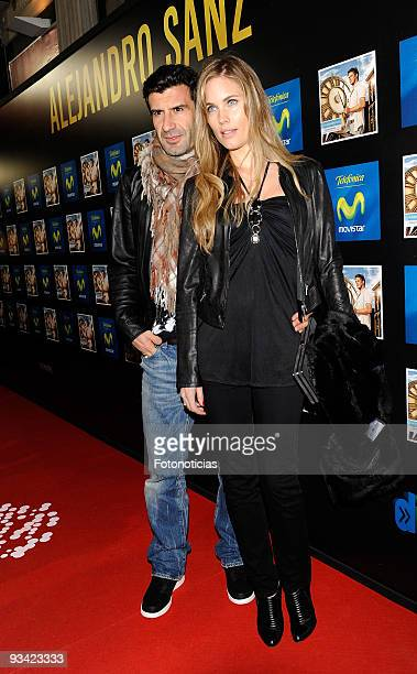 Former football player Luis Figo and model Helen Svedin attend the Alejandro Sanz concert at the Compac Gran Via Theatre on November 25 2009 in...