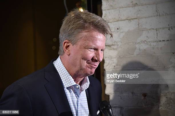 Former football player Phil Simms is interviewed during On Location Experiences' 51 Days To Super Bowl LI Celebration at STK Rooftop on December 14...
