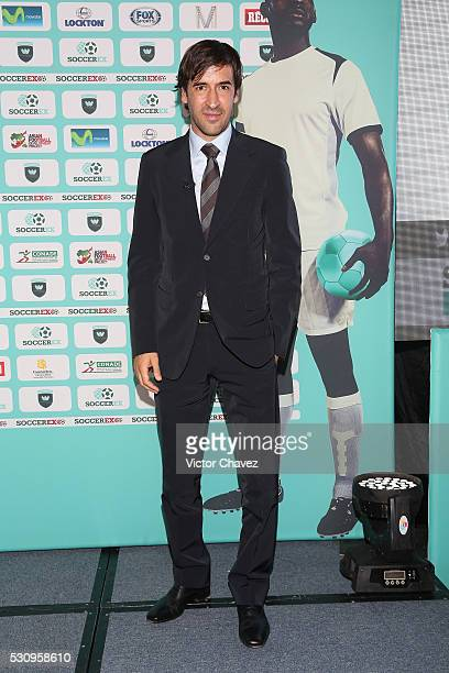 Former football player Raul attends a press conference during the Soccerex Americas Forum Mexico City Day 1 at Camino Real Polanco Hotel on May 11,...