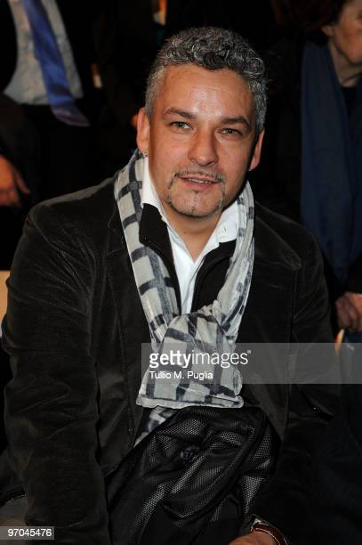 Former football player Roberto Baggio attends the Luciano Soprani Milan Fashion Week Womenswear Autumn/Winter 2010 show on February 25 2010 in Milan...