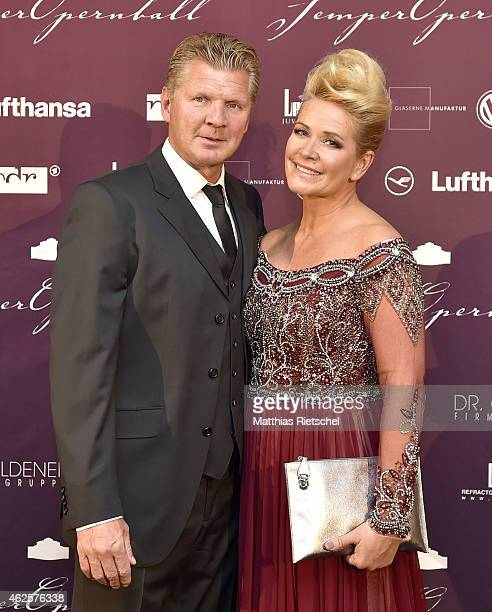 Former football player Stefan Effenberg and Claudia Effenberg pose during the Semper Opera Ball 2015 at Semperoper on January 30, 2015 in Dresden,...